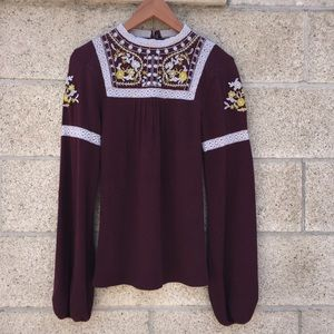 Free People L embroidered blouse